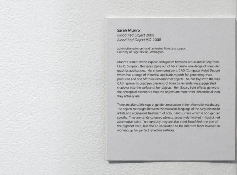 Gallery text, Te Tuhi Centre for the Arts, 2009