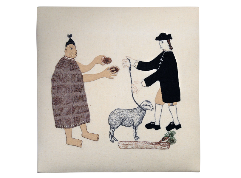 Trade Item – Farming, Forestry, Kina, Kaimoana Beds. 300x300mm. Cloth and thread.